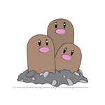 How to Draw Dugtrio from Pokemon