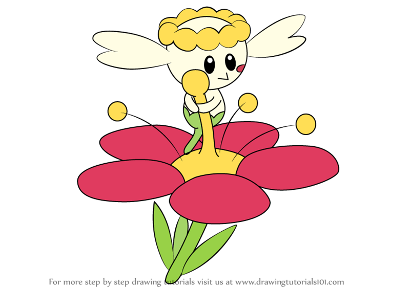 Learn How To Draw Flabebe From Pokemon Pokemon Step By
