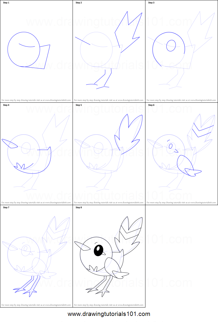How to draw fletchling from pokemon printable step by step for How to make doodle art
