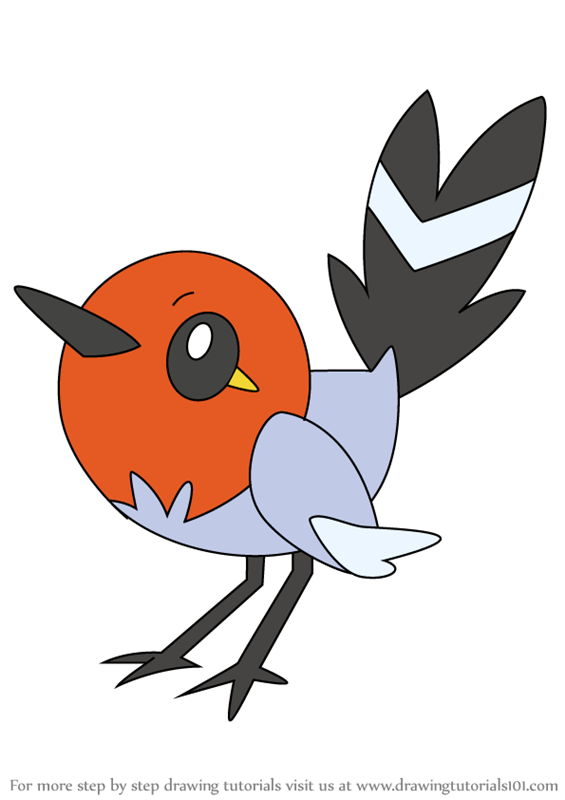Learn How To Draw Fletchling From Pokemon Pokemon Step
