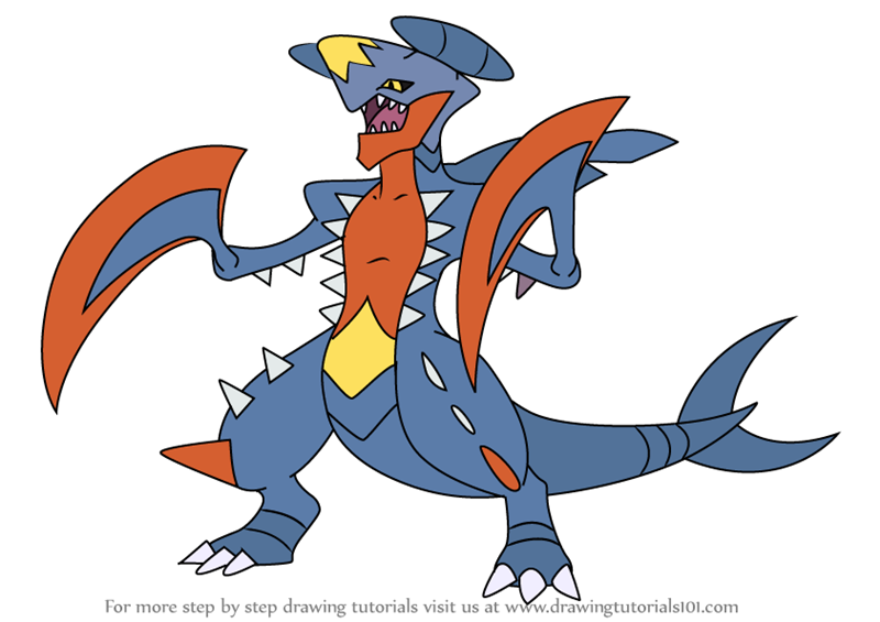 Learn How To Draw Garchomp From Pokemon Pokemon Step By