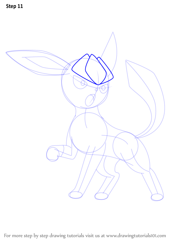 Step by Step How to Draw Glaceon