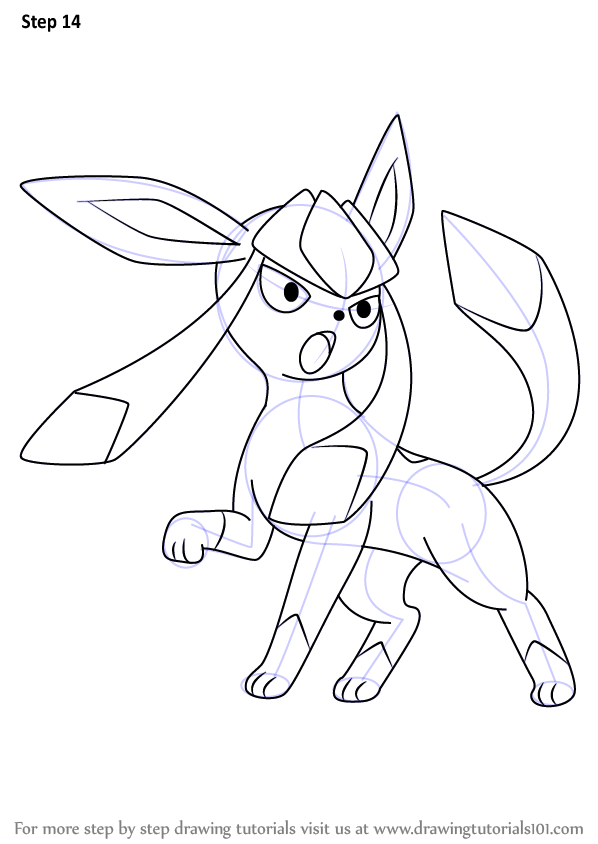 Step by step how to draw glaceon from pokemon for Free online drawing lessons step by step