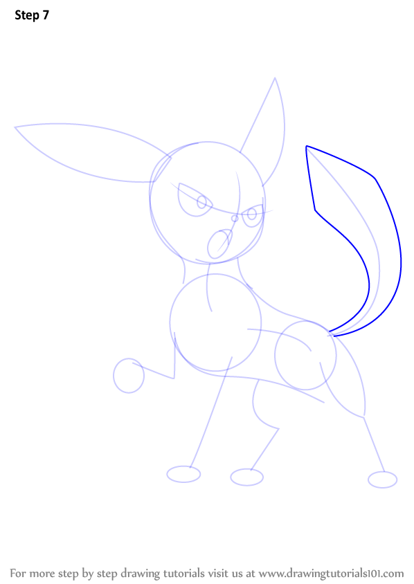 How To Draw Glaceon From Pokemon on Printable Oval Shapes