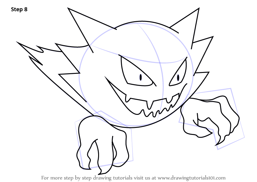 Learn How To Draw Haunter From Pokemon Pokemon Step By Step