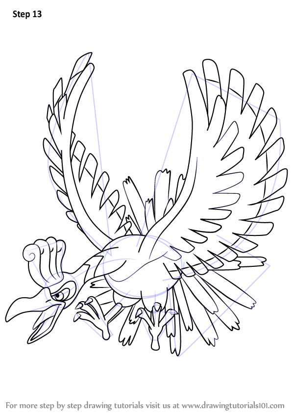 Learn How To Draw Ho Oh From Pokemon Pokemon Step By