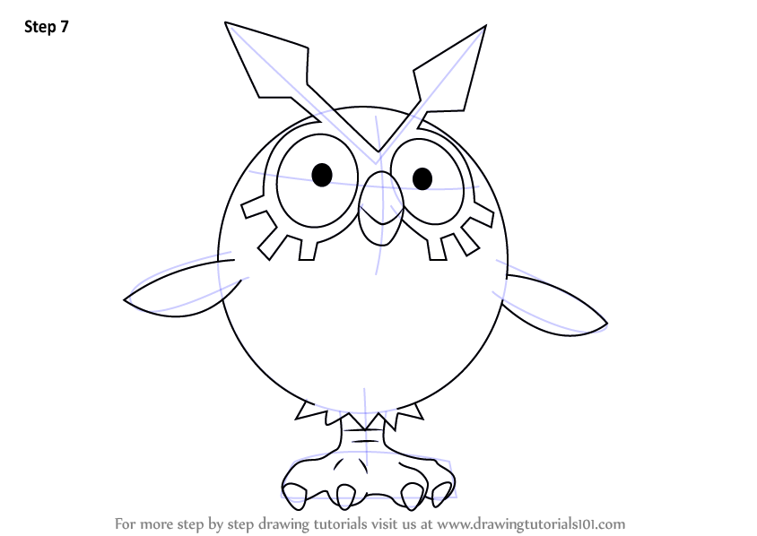 Learn How To Draw Hoothoot From Pokemon Pokemon Step By