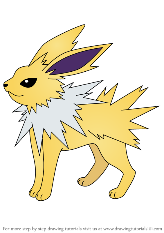 Learn How To Draw Jolteon From Pokemon Pokemon Step By