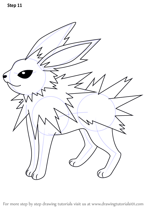 Step by Step How to Draw Jolteon from Pokemon ...