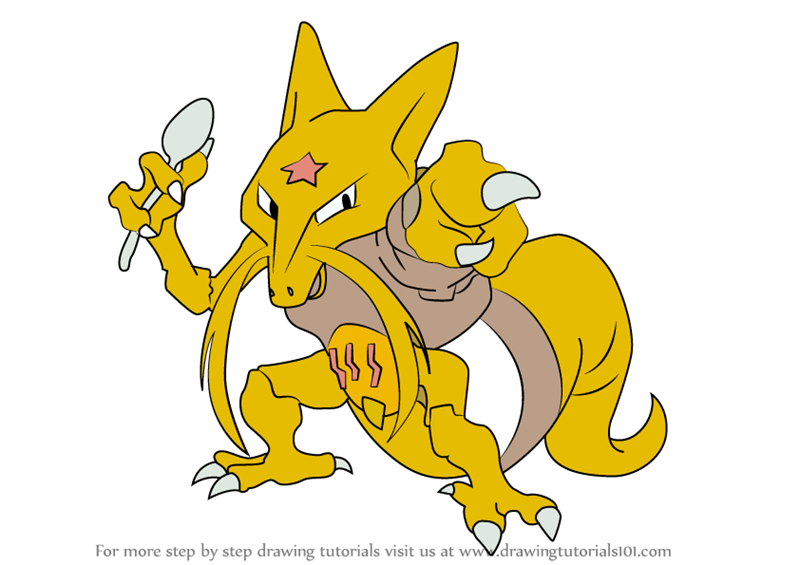 Learn How To Draw Kadabra From Pokemon Pokemon Step By Step Drawing Tutorials