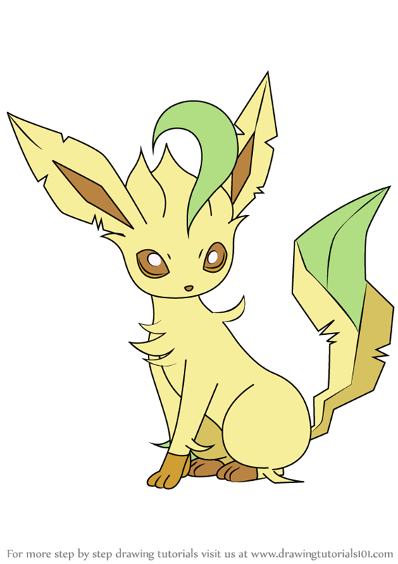 ... Draw Leafeon from Pokemon (Pokemon) Step by Step : Drawing Tutorials Female Drawing Outline