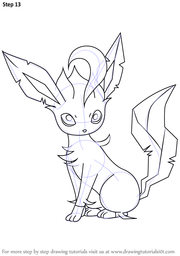 Learn How To Draw Leafeon From Pokemon Pokemon Step By