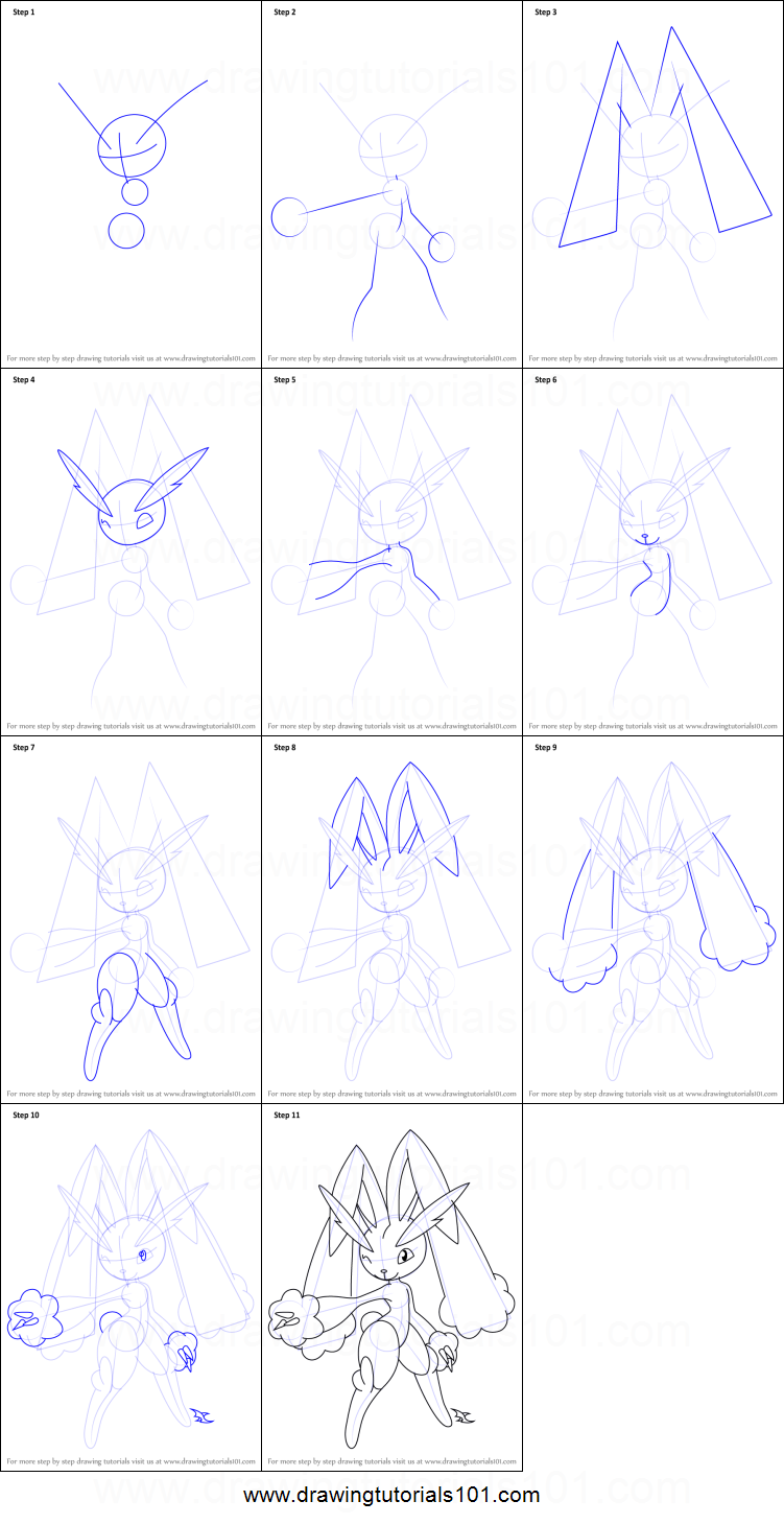 How To Draw Lopunny From Pokemon Printable Step By Step Drawing How To Draw  Pokemon Lucario