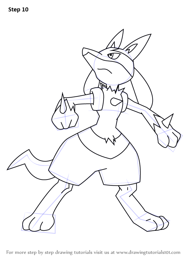 Line Art Drawing Tutorial : Learn how to draw lucario from pokemon step by