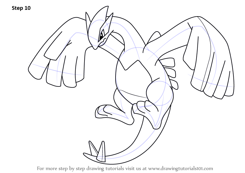 Learn How To Draw Lugia From Pokemon Pokemon Step By