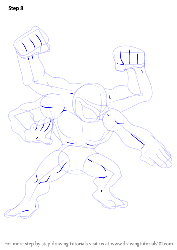 Learn How To Draw Machamp From Pokemon Pokemon Step By