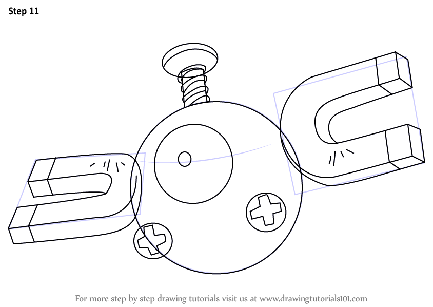 Step By Step How To Draw Magnemite From Pokemon