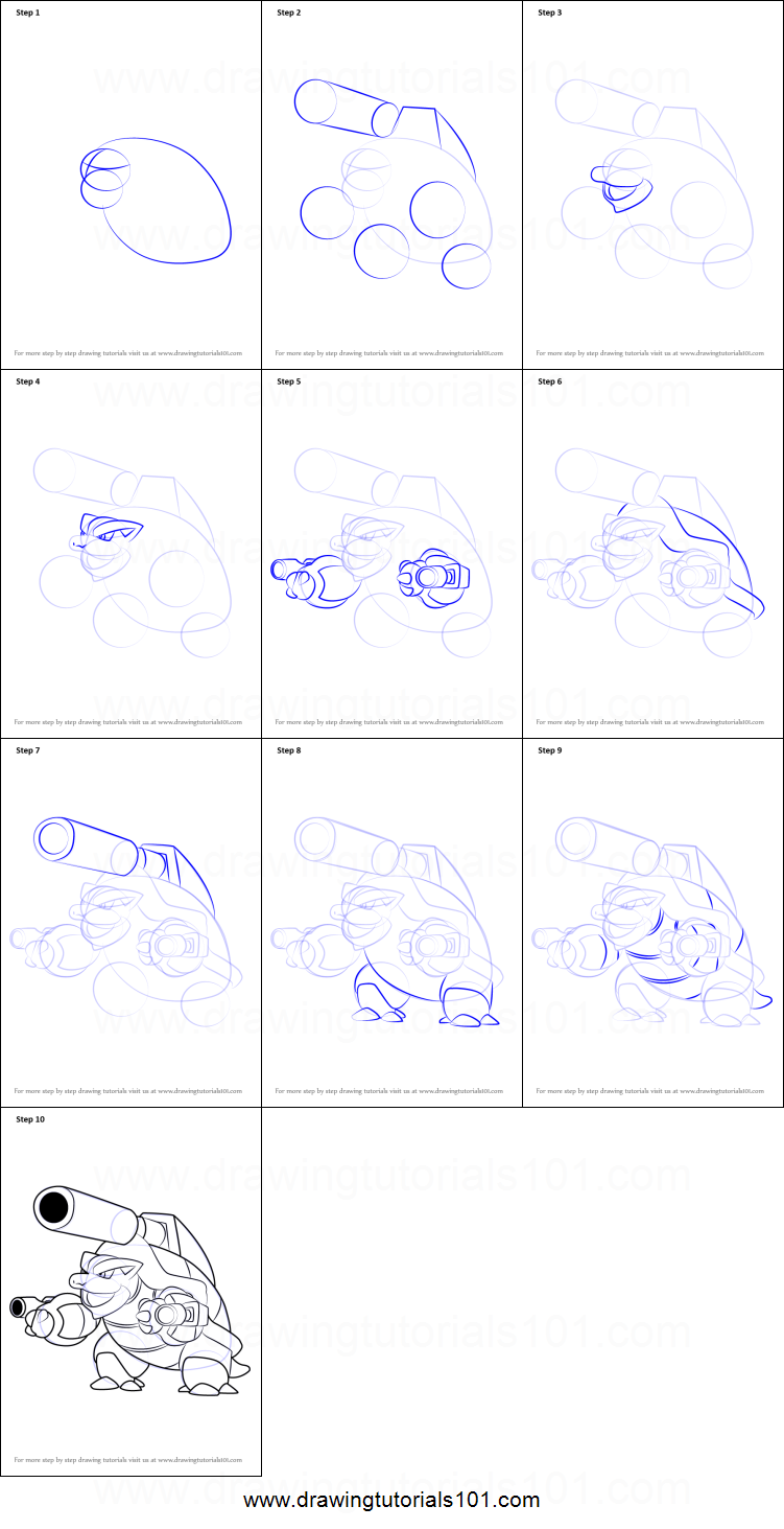 How to draw mega blastoise from pokemon printable step by for How to make doodle art