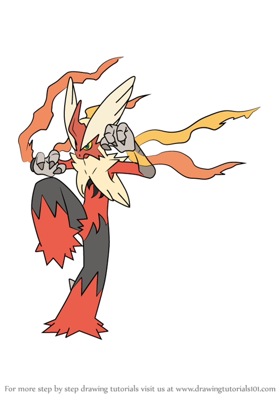 Learn How To Draw Mega Blaziken From Pokemon Pokemon Step By Step Drawing Tutorials