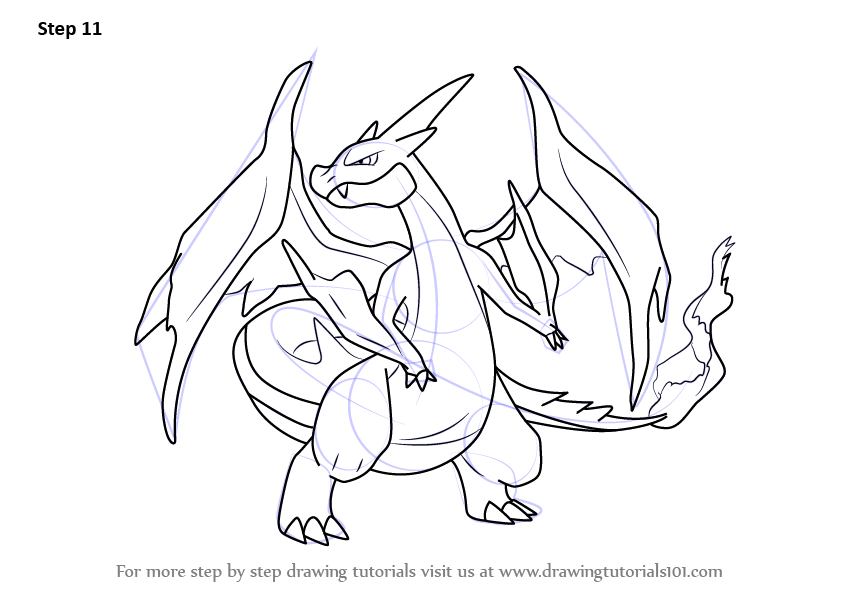 Learn How To Draw Mega Charizard Y From Pokemon Pokemon Step By