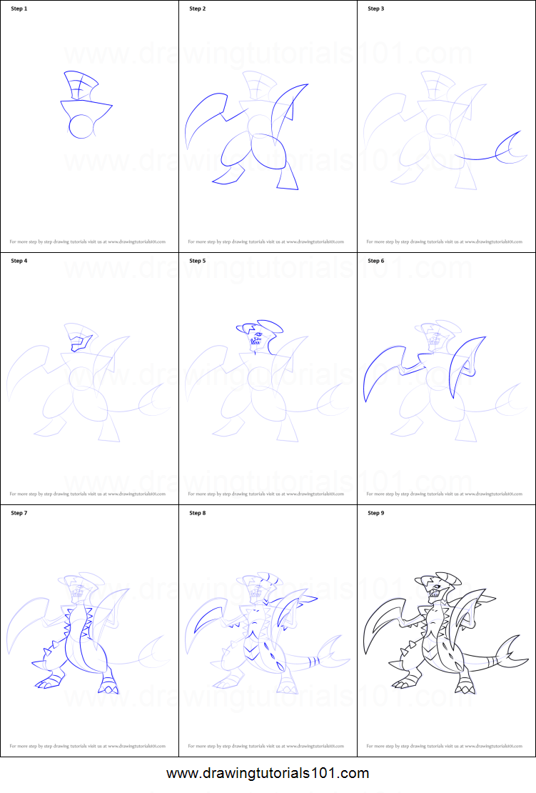 How to Draw Mega Garchomp from Pokemon printable step by ...