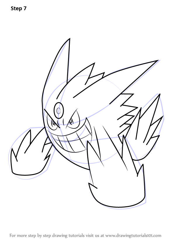 Learn How To Draw Mega Gengar From Pokemon Pokemon Step