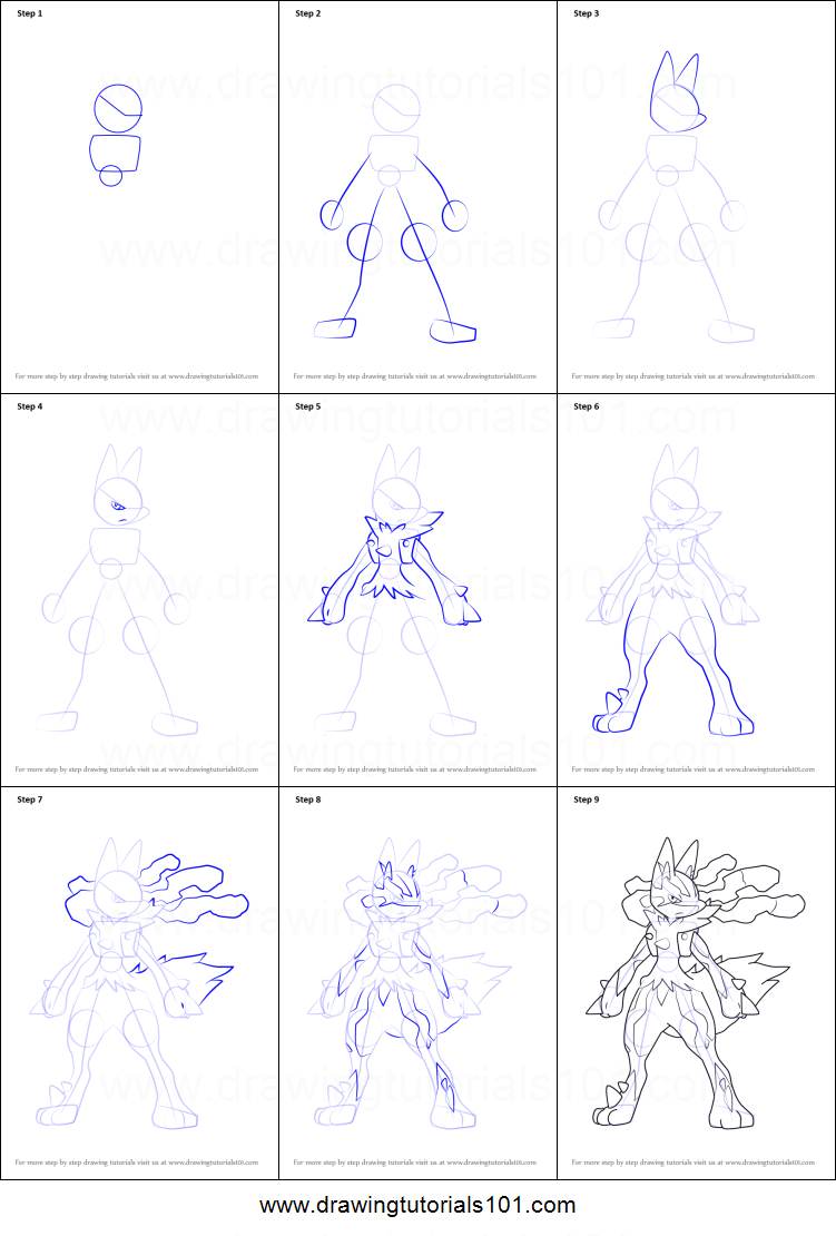 How To Draw Mega Lucario From Pokemon