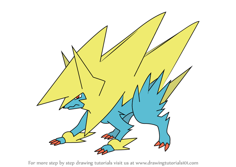 learn how to draw mega manectric from pokemon pokemon step by step