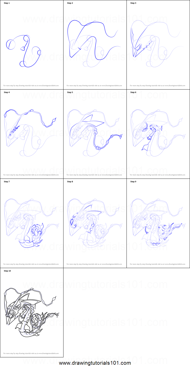Easy How To Draw Rayquaza Step By Step For Kids