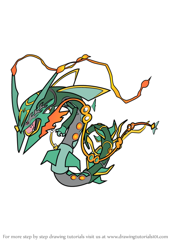 Step by step how to draw mega rayquaza from pokemon for Rayquaza coloring pages