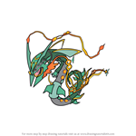 How to Draw Mega Rayquaza from Pokemon