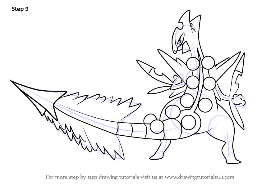 Step By Step How To Draw Mega Sceptile From Pokemon