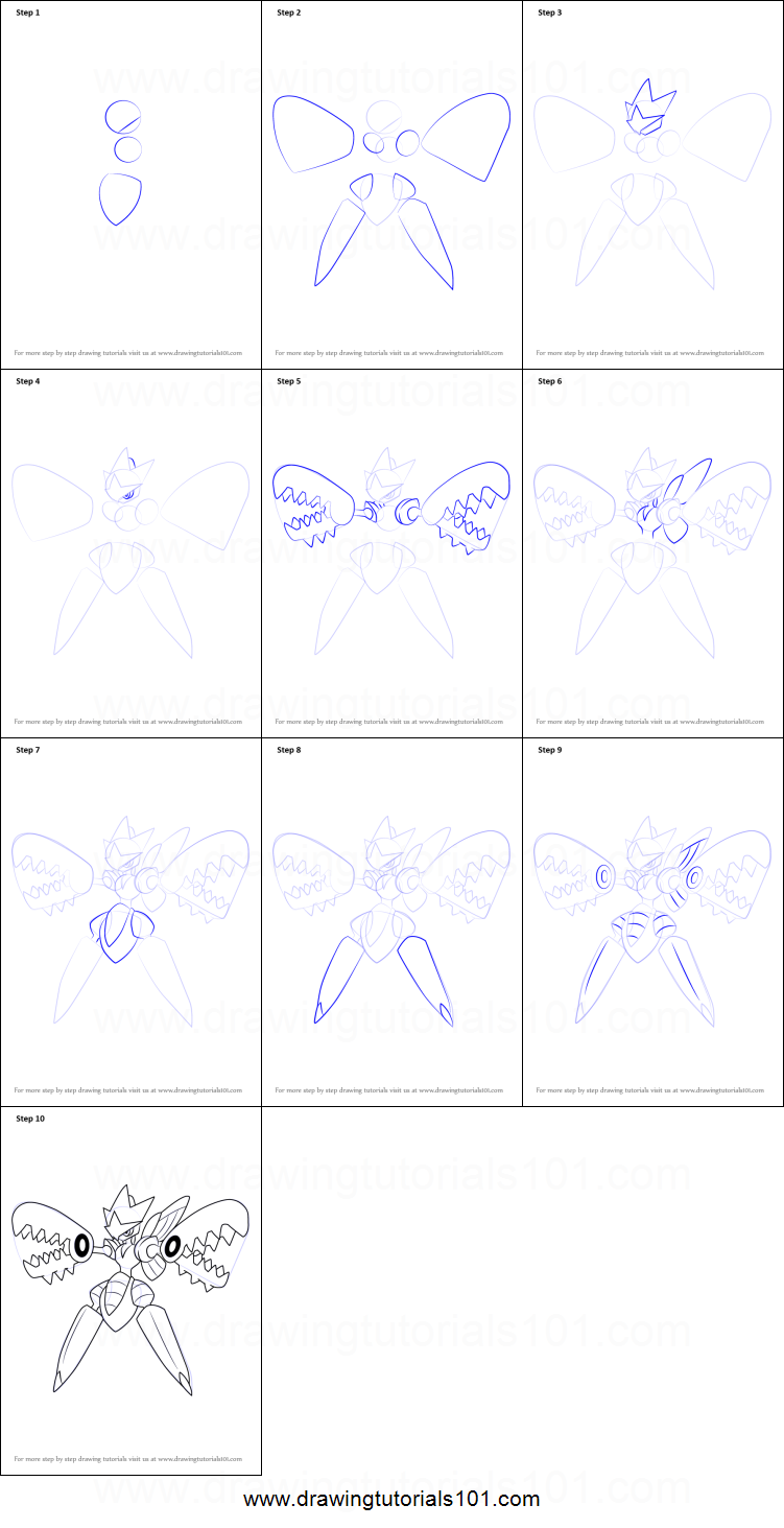 How To Draw Mega Scizor From Pokemon Printable Step By