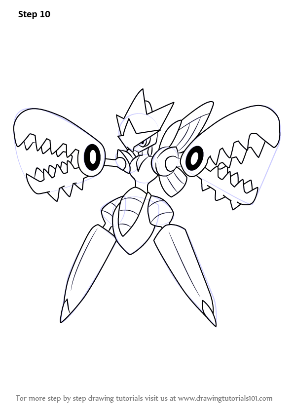 Step By Step How To Draw Mega Scizor From Pokemon