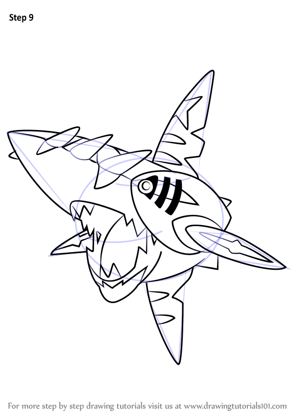 Learn How To Draw Mega Sharpedo From Pokemon Pokemon
