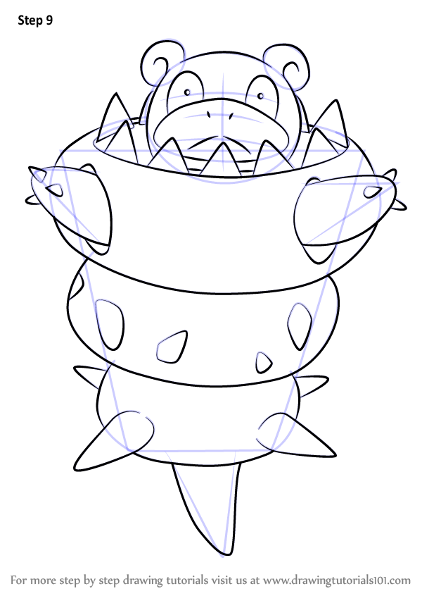 Learn How To Draw Mega Slowbro From Pokemon Pokemon Step