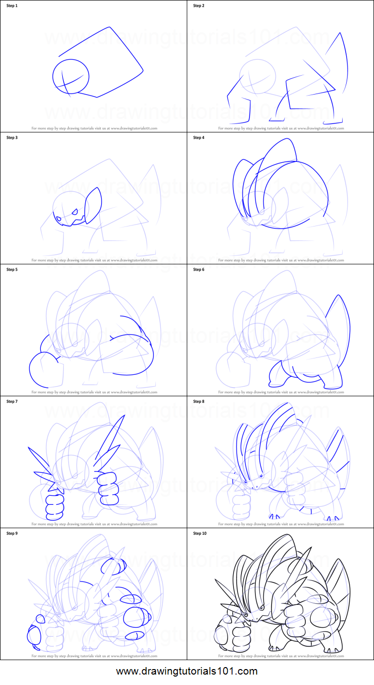 How to draw mega swampert from pokemon printable step by for How to make doodle art