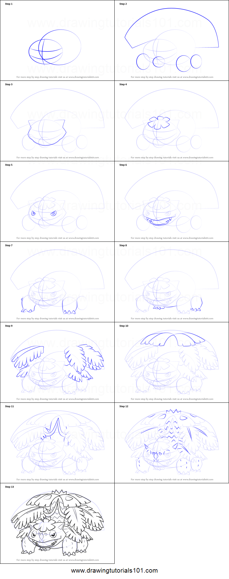 How to Draw Mega Venusaur from Pokemon printable step by ...