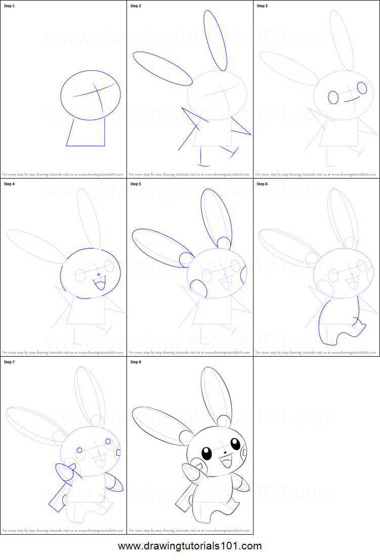 minun coloring pages - how to draw minun from pokemon printable step by step