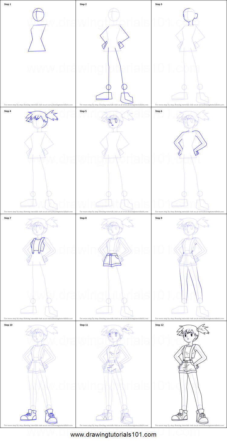 how to draw misty aka kasumi from pokemon printable step by step
