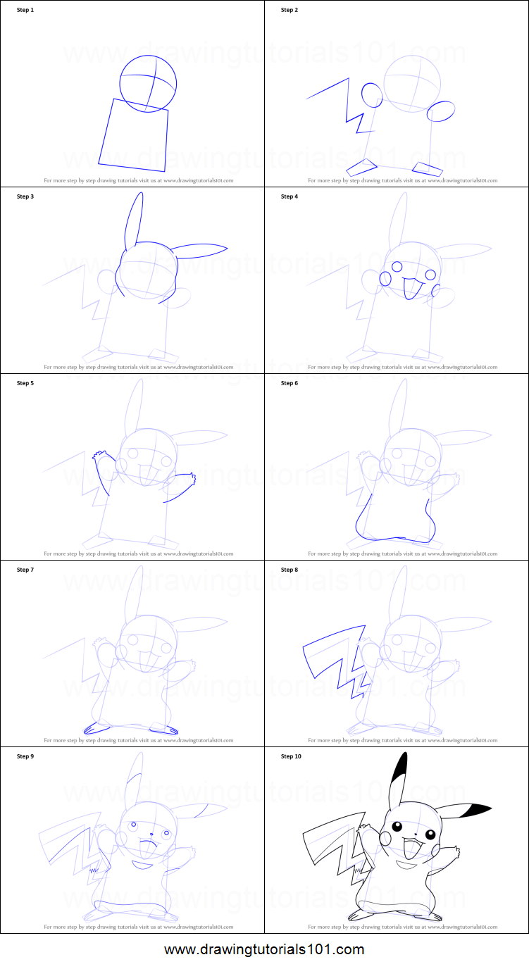 how to draw pikachu from pokemon printable step by step drawing