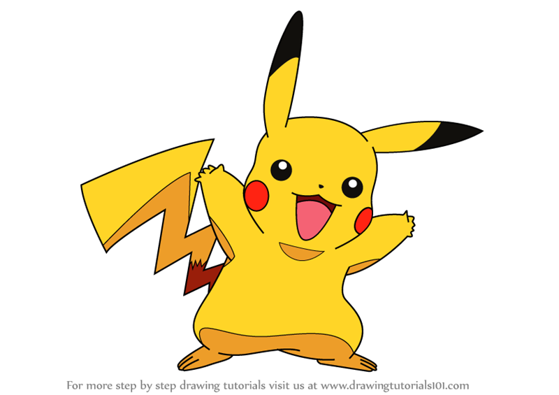 Learn How To Draw Pikachu From Pokemon (Pokemon) Step By