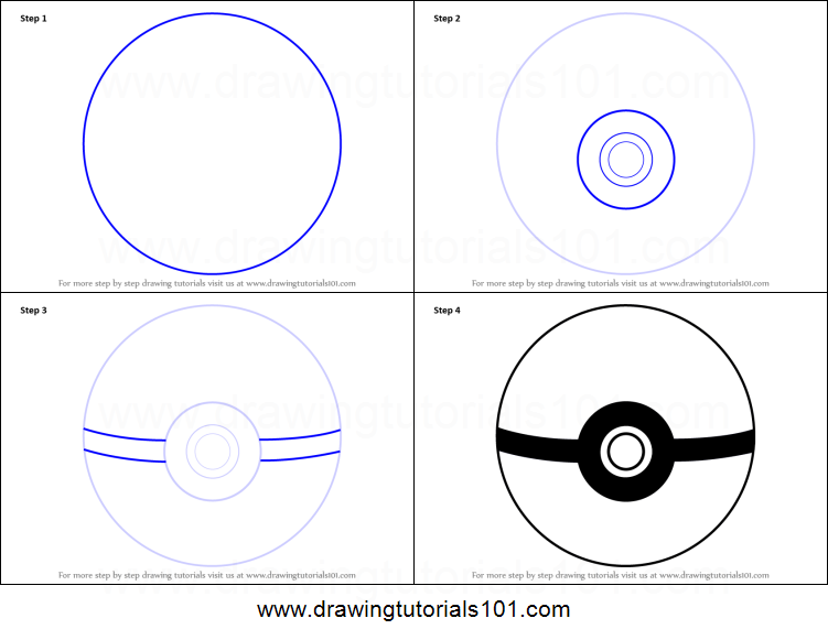 How to draw pokeball from pokemon printable step by step drawing sheet drawingtutorials101 com