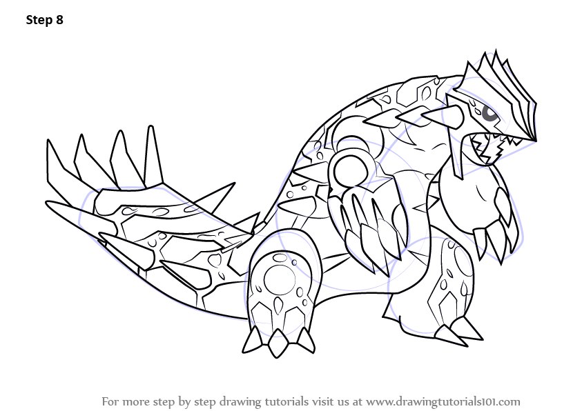 Step by Step How to Draw Primal Groudon from Pokemon ...