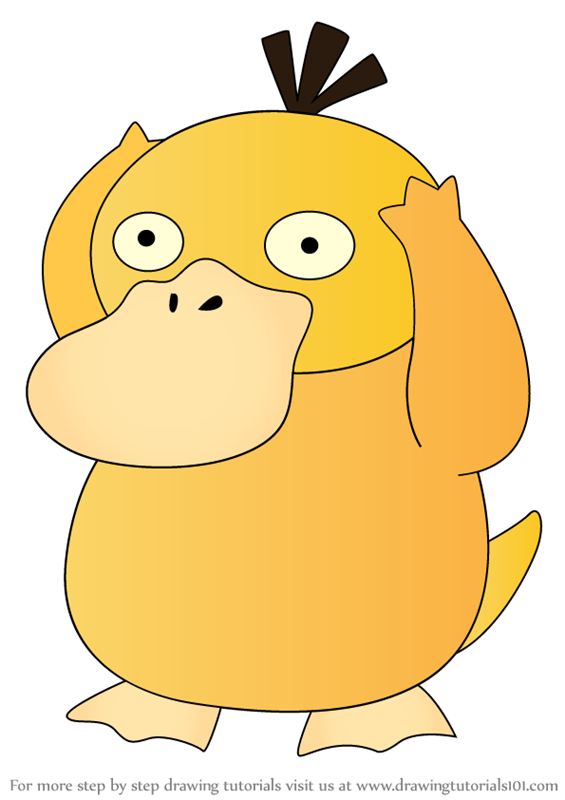 Step by Step Drawing tutorial on How to Draw Psyduck from Pokemon