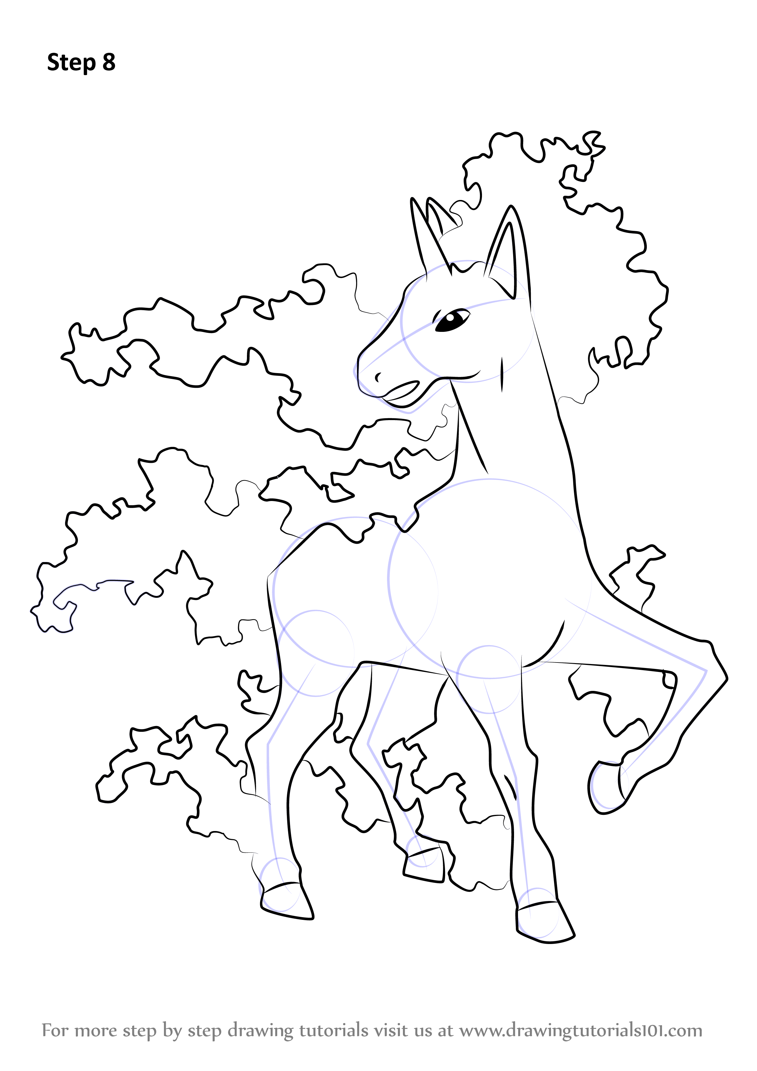 learn how to draw rapidash from pokemon pokemon step by step
