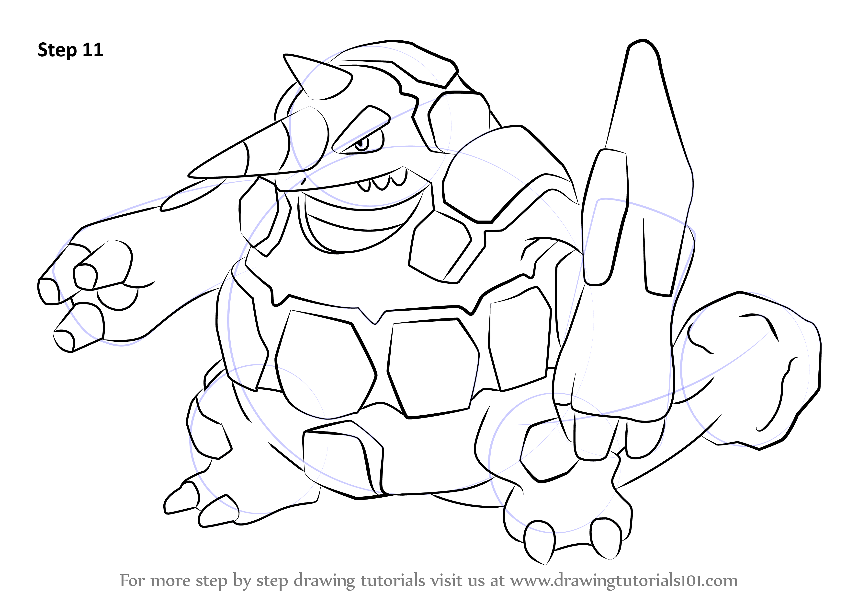 Learn How To Draw Rhyperior From Pokemon Pokemon Step By