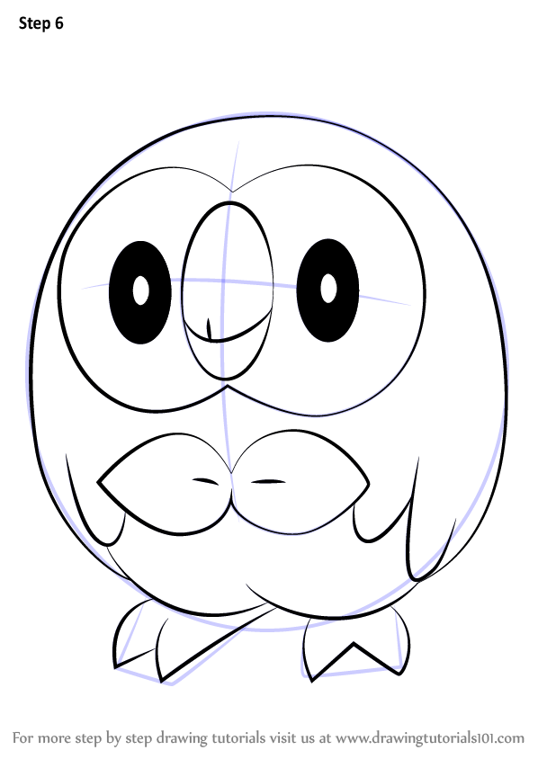 Learn How To Draw Rowlet From Pokemon Step By Drawing Tutorials