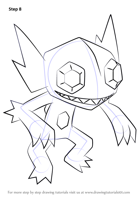 Learn How To Draw Sableye From Pokemon Pokemon Step By