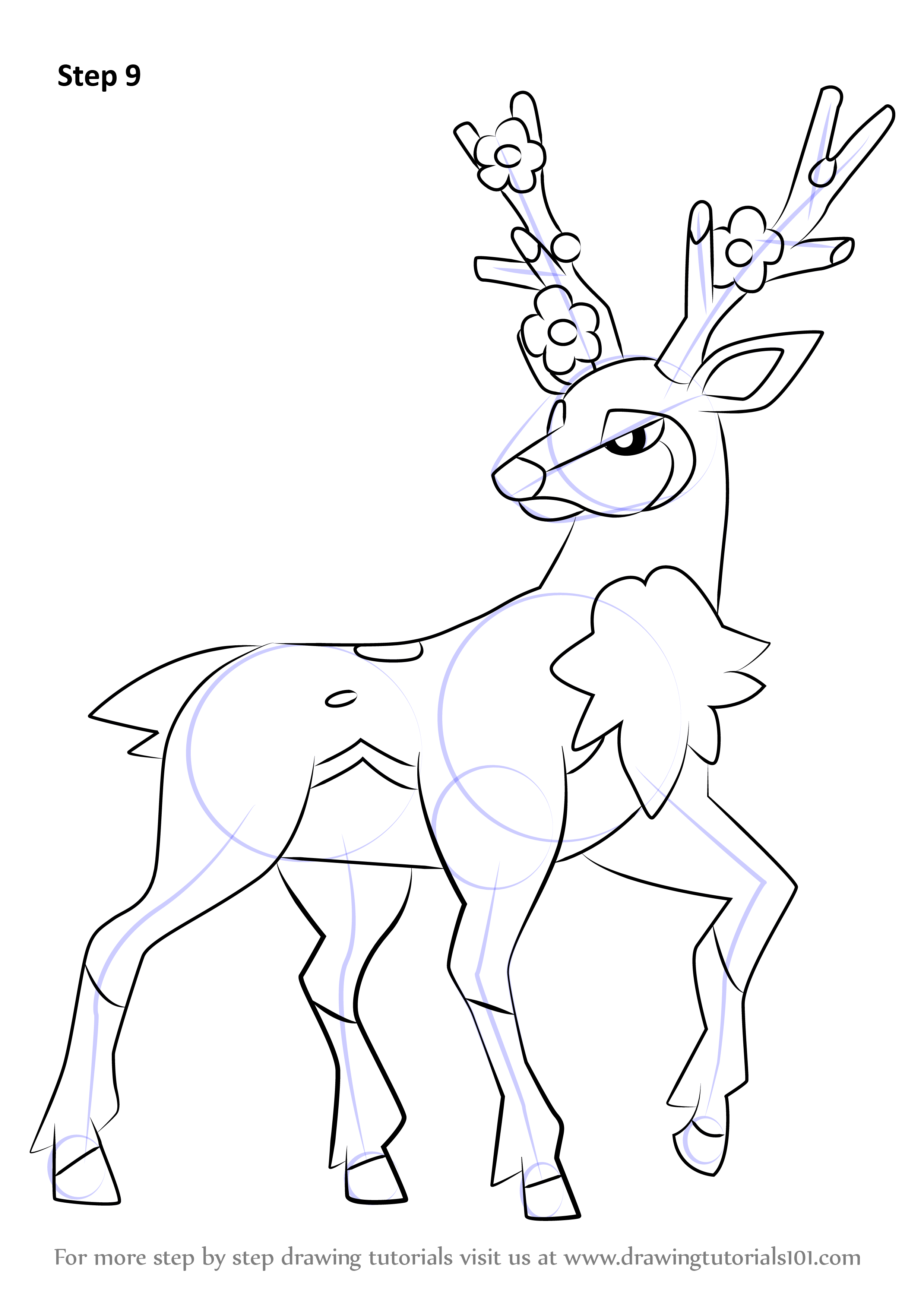 Learn How To Draw Sawsbuck From Pokemon Pokemon Step By